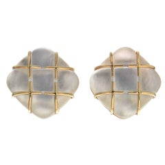 Tic Tac Toe Cushion Crystal Mother-of-Pearl Gold Earrings