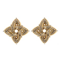 Gothic Diamond Gold Platinum Small Earrings