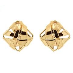 Valentin Magro Geometric Fold Over Gold Earrings