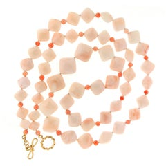 Cushion Salmon Coral Necklace with Round Darker Coral Balls