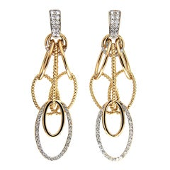 Cascading Oval Twisted and Plain Wire Diamond Gold Earrings 'Small'