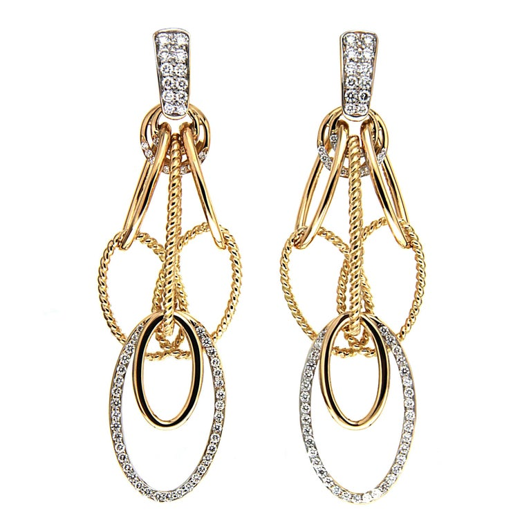 Cascading Oval Twisted and Plain Wire Diamond Gold Earrings \'Small ...