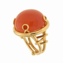 Round Cabochon Orange Moonstone Trellis Gold Ring