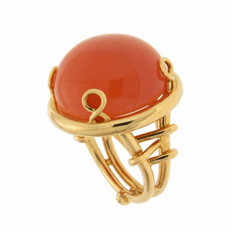 Valentin Magro Round Cabochon Orange Moonstone Trellis Gold Ring