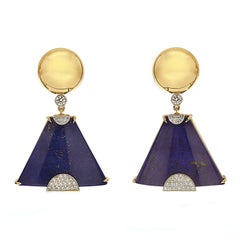 Special Cut Lapis Lazuli Diamond Earrings