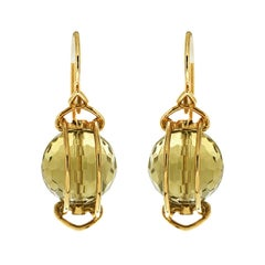 Valentin Magro Doppio Faceted Lemon Quartz Gold Earrings