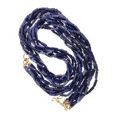 Lapis Lazuli Long Rectangle Cube Multi Strand Necklace