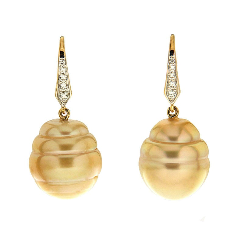 Valentin Magro Golden Pearl Drop Earrings with Diamond Lever Back