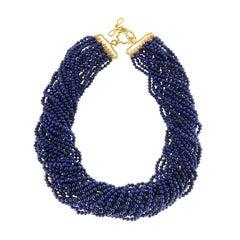 Round Lapis Lazuli Multi Strands Necklace