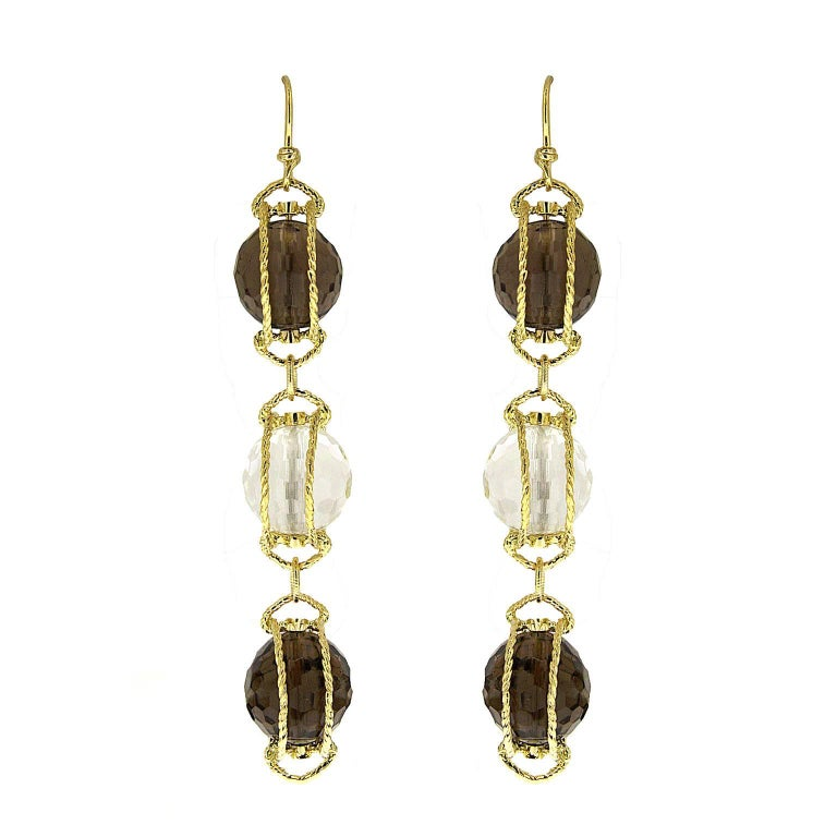 Triple Doppio Twisted Wire Earrings with Smokey Topaz and Crystal