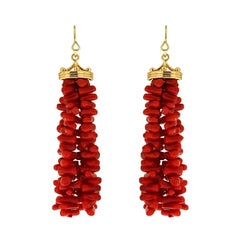 Gold Crown Cap Coral Tassel French Wire Earrings