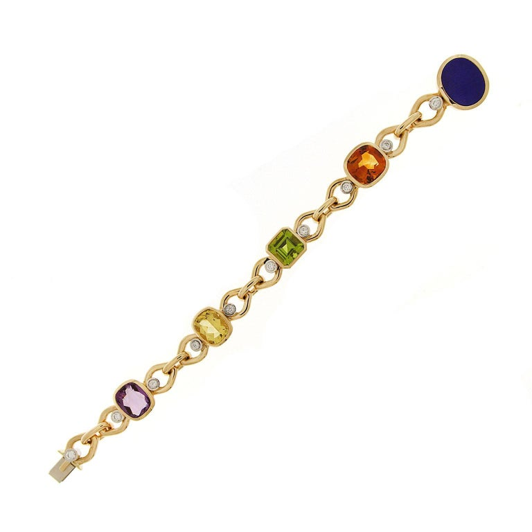 Multi-Color Stone Link Bracelet with Beryl, Lapis, Madeira Citrine and Peridot 3