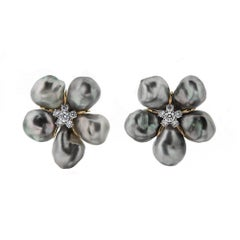 Tahitian Silver Pearl Diamond Gold Cluster Clover Earrings