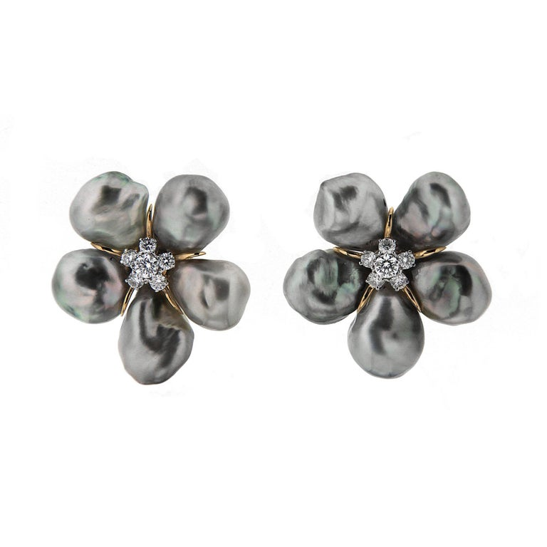 Tahitian Silver Pearl Diamond Gold Cluster Clover Earrings For Sale