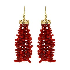 Gold Crown Cap Coral Tassels French Wire Earrings