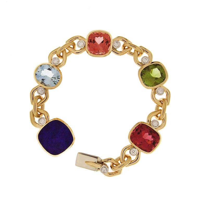 Multi-Color Stone Bracelet with Aquamarine, Lapis, Tourmaline and Peridot