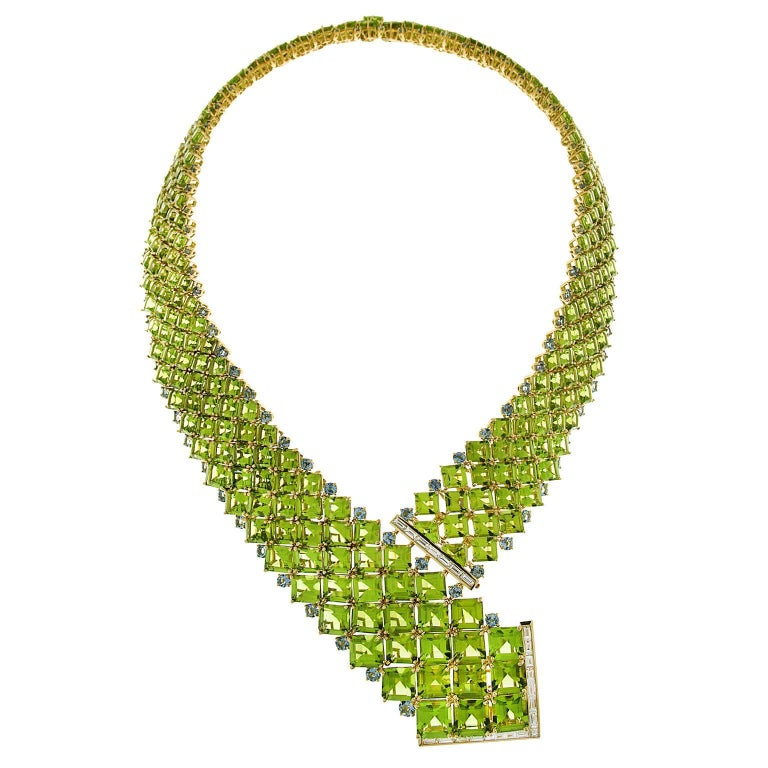 Square Peridots with Round Aquamarines and Baguette Diamond Necklace