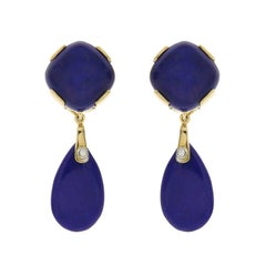 Cushion Cabochon Lapis Lazuli with Tear Drop Lapis Earrings