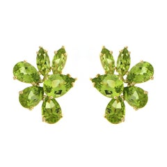 Marquise and Pear Shape Peridot Cluster Earrings