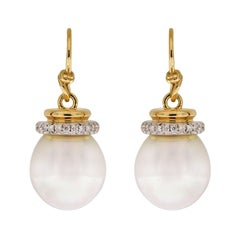 South Sea Pearl Earrings with Diamond Cap and French Wire
