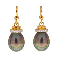 Tahitian Pearl Earrings with Diamond Cap and French Wire