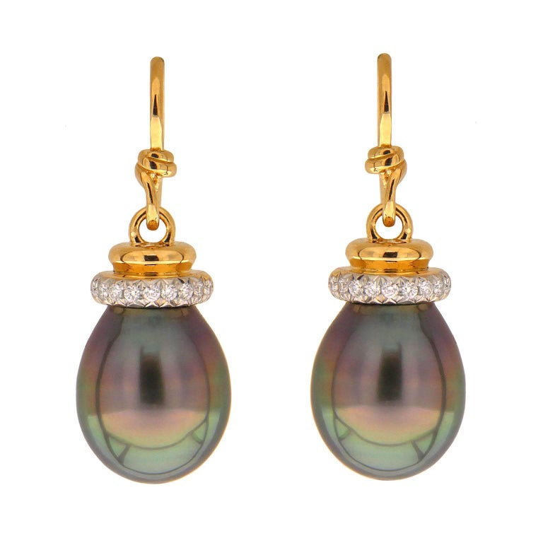 Tahitian Pearl Earrings with Diamond Cap and French Wire 1