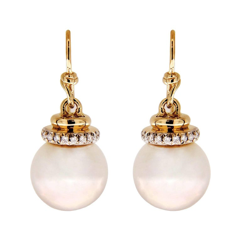 Valentin Magro Tahitian Pearl Earrings with Diamond Cap and French ...