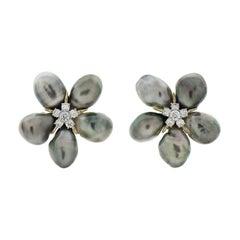 Cluster Silver Grey Keshi Pearl Diamond Earrings
