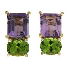 Emerald Cut Amethyst and Oval Peridot Earrings with Diamonds