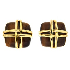 Valentin Magro Cushion Cut Tiger's Eye Earrings with Woven Wires