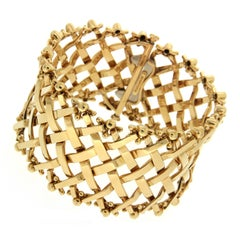 Valentin Magro Woven Lattice Gold Flexible Bracelet