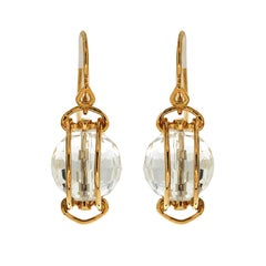 Valentin Magro Doppio Gold Smooth Rope Crystal Ball Earrings