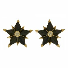 Valentin Magro Special Cut Star Shape Black Jade and White Sapphire Earrings