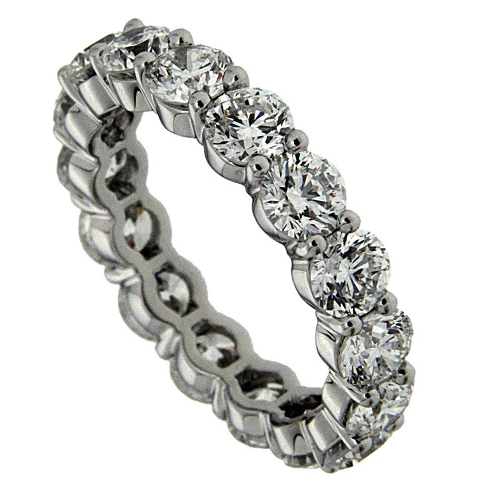4.8 Carat Diamond Platinum Eternity Band Ring For Sale