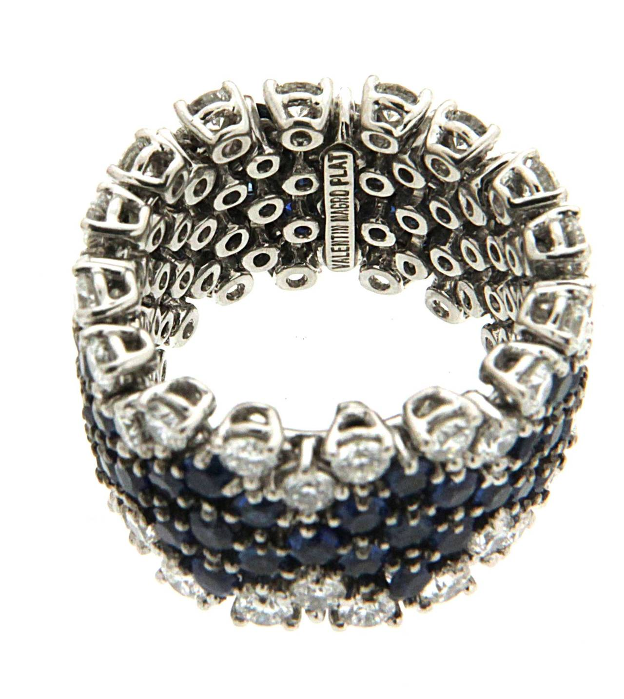 Flexible Sapphire Diamond Platinum Band Ring 2