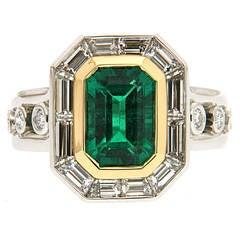 Emerald Diamond Gold Platinum Engagement Ring