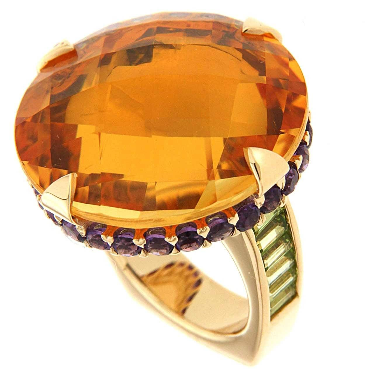 Unique Citrine Amethyst Peridot Gold Checkerboard Ring