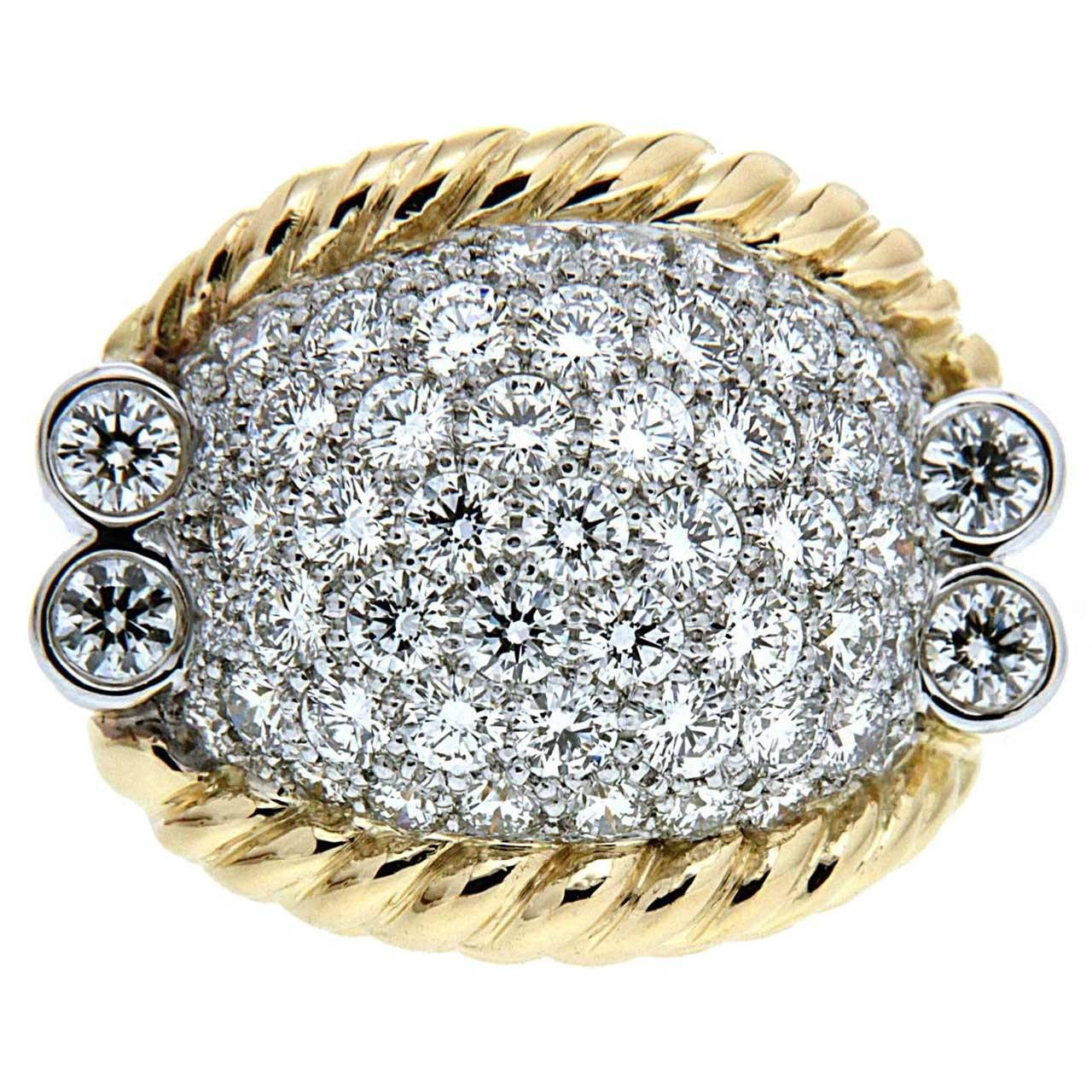 Triple Rope Diamond Gold Ring For Sale