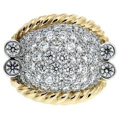 Triple Rope Diamond Gold Ring