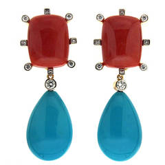 Cushion Coral and Tear drop Turquoise Earrings