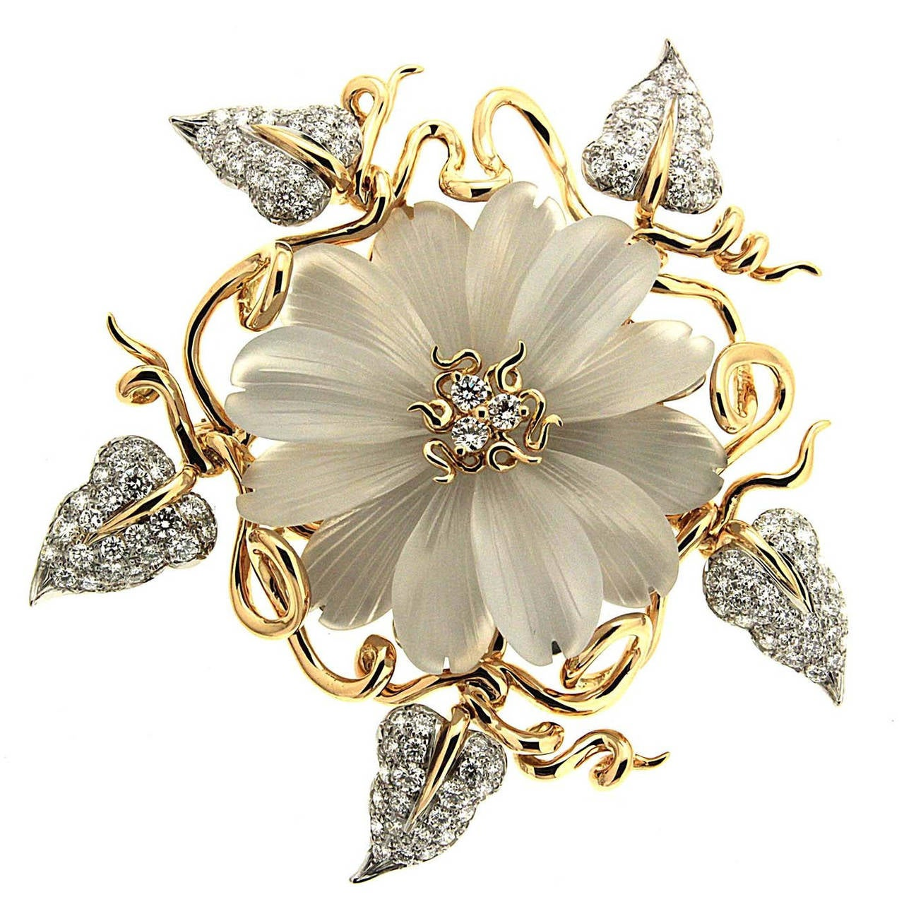 Hand Carved Crystal Diamond Gold Flower Brooch at 1stdibs