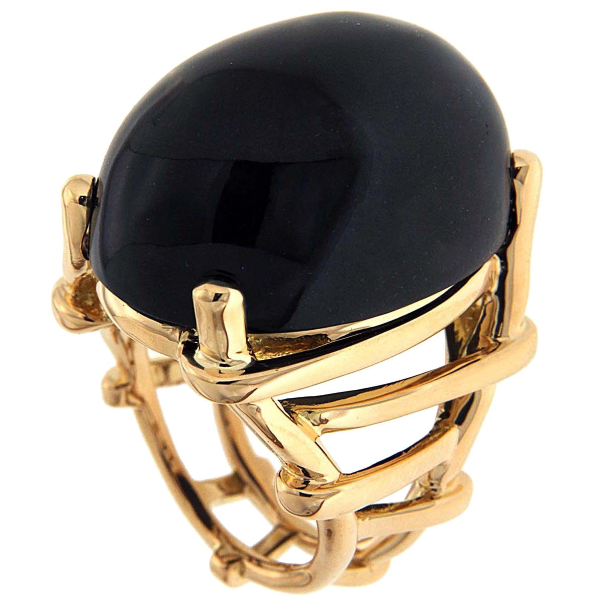 Oval Cabochon Black Jade Gold Dome Trellis Ring 1