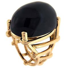Oval Cabochon Black Jade Gold Dome Trellis Ring