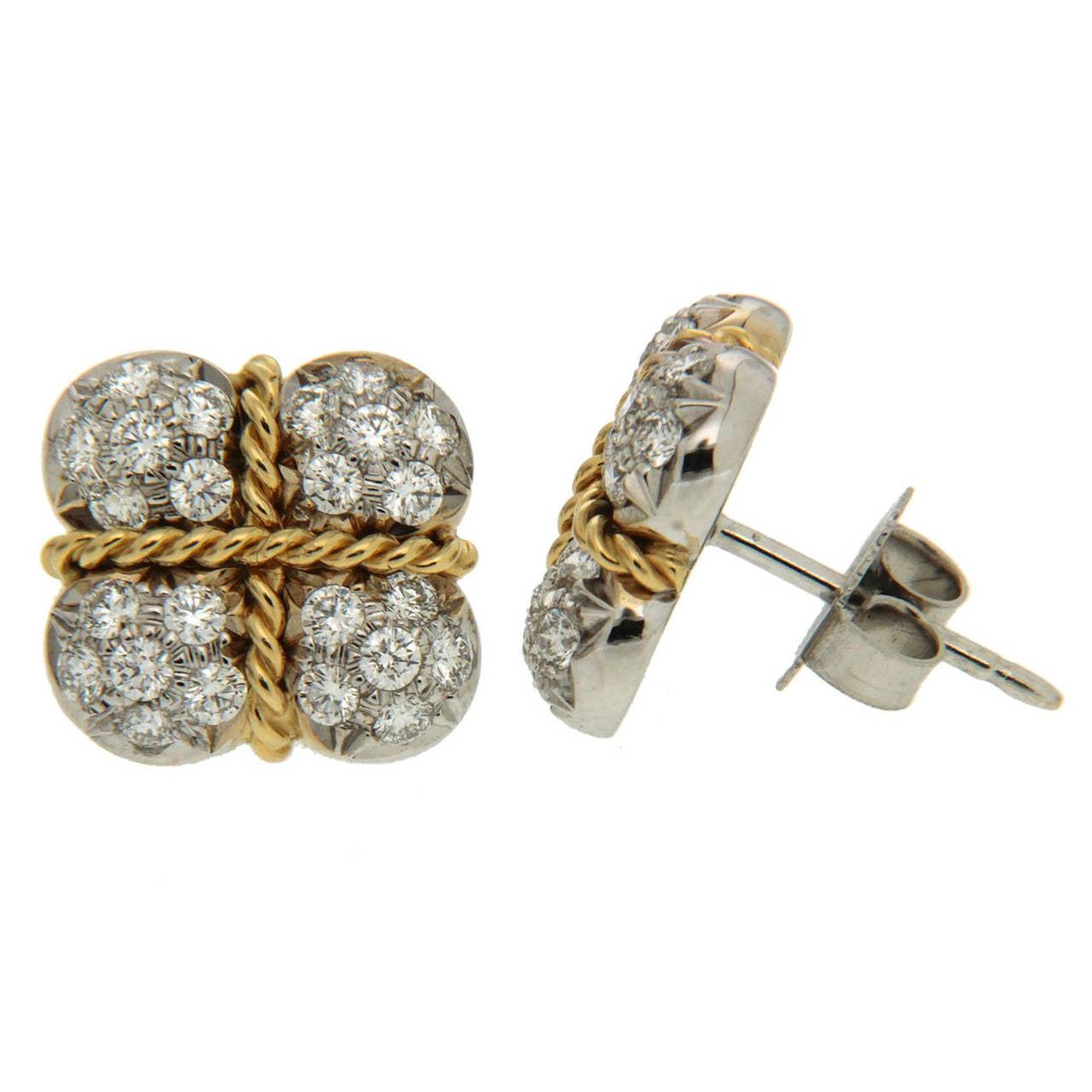 Diamond Gold Platinum Gift Box Earrings