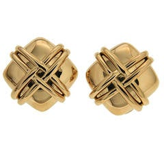 Valentin Magro Square Gold Earrings with Woven Wires