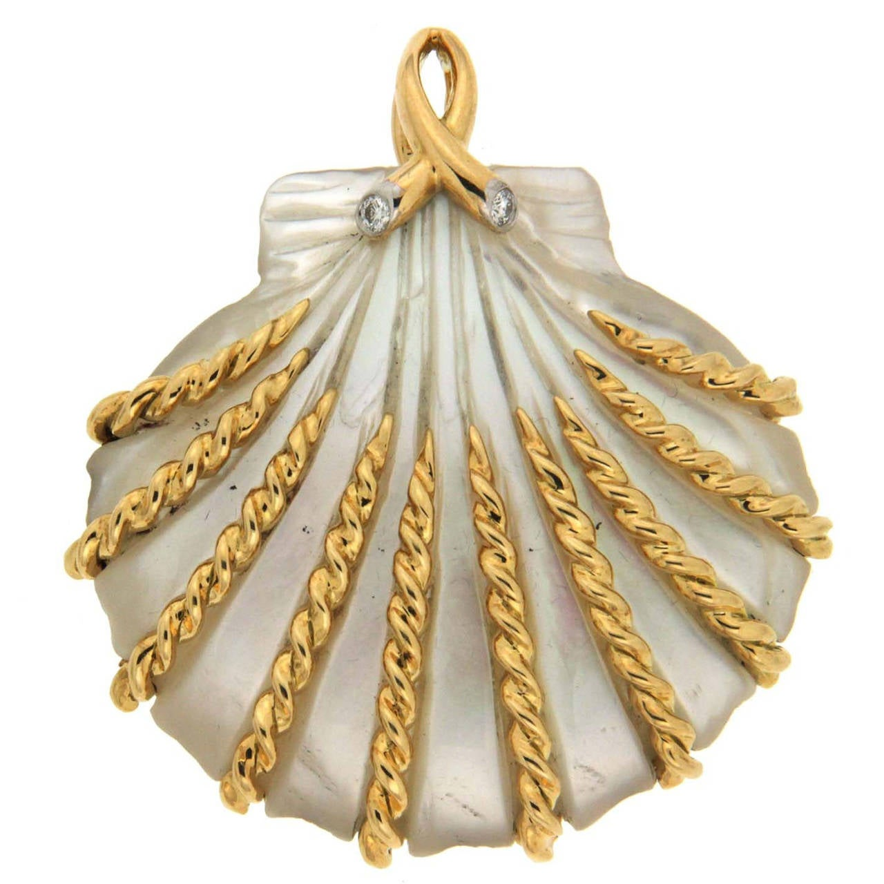 Hand-Carved Mother-of-Pearl Sea Shell Gold Pendant 1