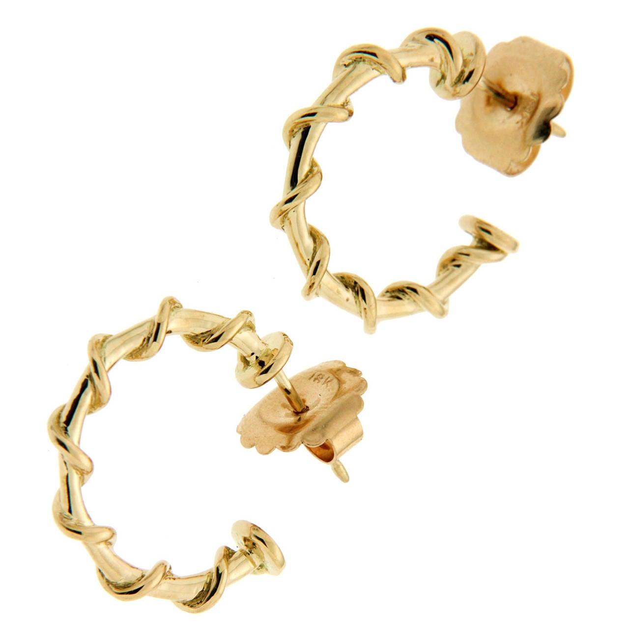 Large Gold Rope Hoop Nautical Earrings For