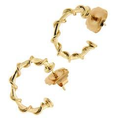 Large Gold Rope Hoop Nautical Earrings