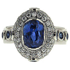 Oval Sapphire Diamond Platinum Solitaire Ring