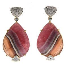 Honey Rhodocrosite Diamond Gold Post Earrings